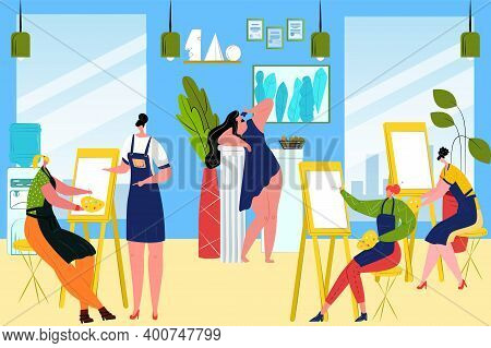 Group Students Paint Picture Woman In Art Class, Vector Illustration. Indoors Young Artists With Eas