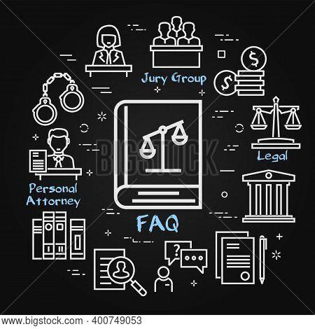 Vector Black Line Banner Of Legal Proceedings - Faq Book Icon