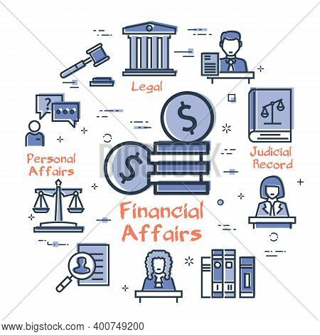 Vector Line Banner Of Legal Proceedings - Financial Affairs Icon