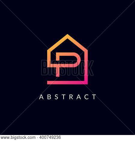 P Letter Real Estate Logo Design - Alphabet P Property, Construction, Business Corporate, Home Sign