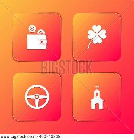 Set Wallet With Coin, Four Leaf Clover, Steering Wheel And Church Building Icon. Vector