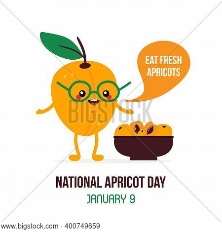 National Apricot Day Vector Card, Illustration With Cute Cartoon Style Apricot Character With Bowl O
