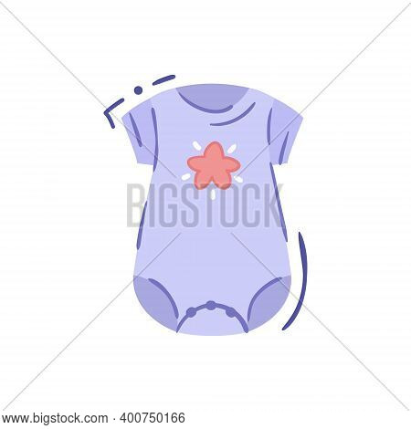 Tiny Baby Bodysuit Or Infant Onesie With Short Sleeves And Star Print- Isolated Vector Illustration.