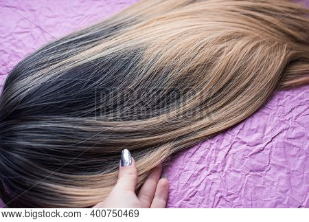 Wigs, Natural And Synthetic Hair. Women\'s Beauty Concept. Close Up Photo Of Wig, Hair For Ladies
