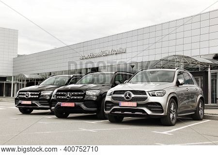 Kiev, Ukraine - April 21, 2020: Black Luxury Mercedes Car In The City. Cars For Sale