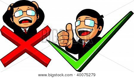Businessman With Check Mark & Thumb Up Or Cross Mark & Frustation