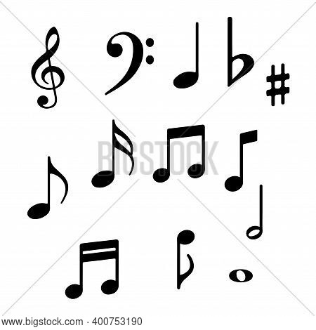 Music Notes Icons. Musical Key Signs. Vector Symbols On White Background. Eps 10