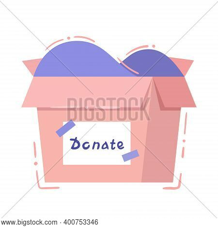 Charity Box - Isolated Vector Illustration In Hand Drawn Style. Pink Card Box With Signature Donatio