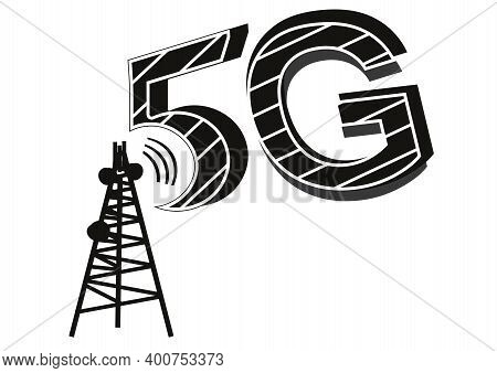 5g Network Tower Clip Art. 5g Network Icon, Isolated On White Background. 5g Internet, Vector Illust