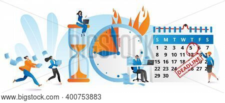 Work Time At Clock, Business Deadline Concept Vector Illustration. Flat Time Management At People Ch