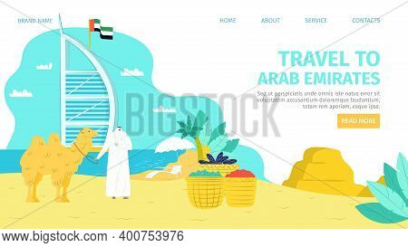 Arab Emirates Tourism Character Concept, Vector Illustration. Arabic Tourism Background, Man In Trad
