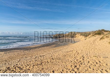 Wild And Empty Beach On The Atlantic Coast Of Portugal