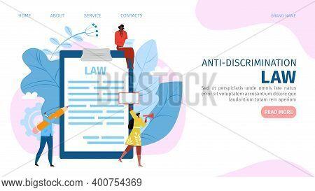 Anti-discrimination Law Concept, Man Woman Protest Website, Vector Illustration. Male Female People