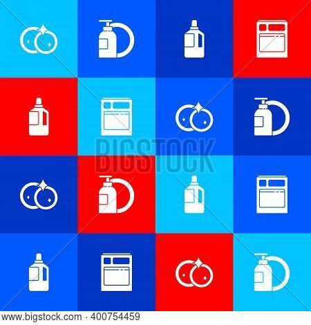 Set Washing Dishes, Dishwashing Liquid Bottle And Plate, Fabric Softener And Kitchen Dishwasher Mach