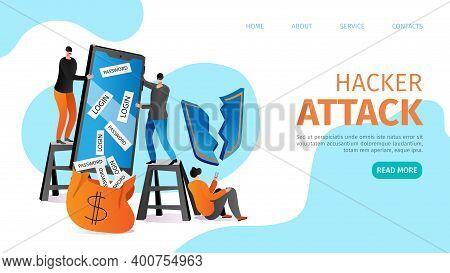 Flat Information Hacking In Smartphone, Hacker Broke Data Protection Technology Vector Illustration.