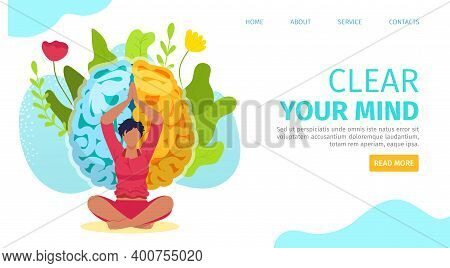 Meditation Yoga For Clearing Woman Mind, Vector Illustration. Girl Female At Flat Pose For Body Heal