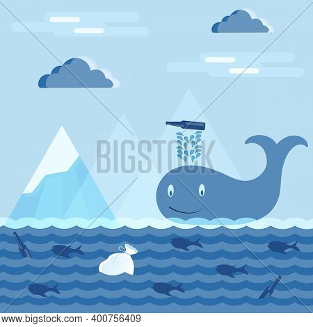 A Vector Illustration Of Climate Change On Earth, Where A Whale In The Ocean, Letting The Fountain I