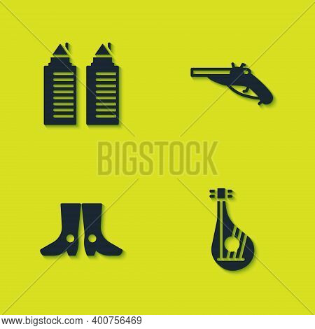 Set Two Towers In Dnipro, Bandura, Ukrainian Footwear And Vintage Pistols Icon. Vector
