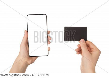 Cyber Monday Concept. Pov Close Up View Photo Of Female Hands Holding Smart Telephone With Blank Emp