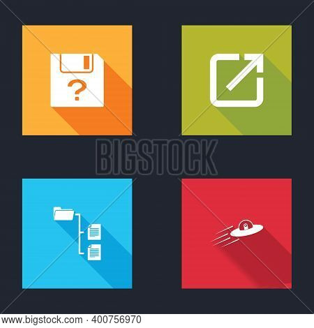 Set Unknown Document, Open In New Window, Folder Tree And Ufo Flying Spaceship And Alien Icon. Vecto