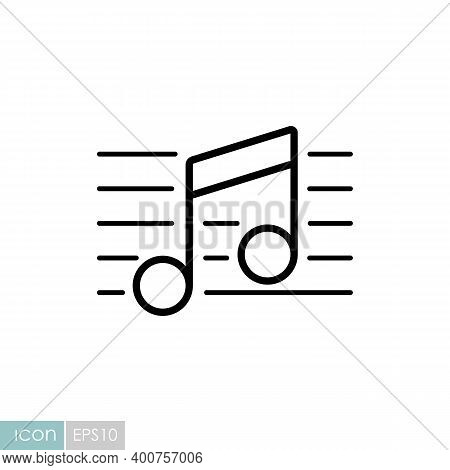 Stave And Music Notes Vector Icon. Melody, Classical Music, Sound Design. Graph Symbol For Music And