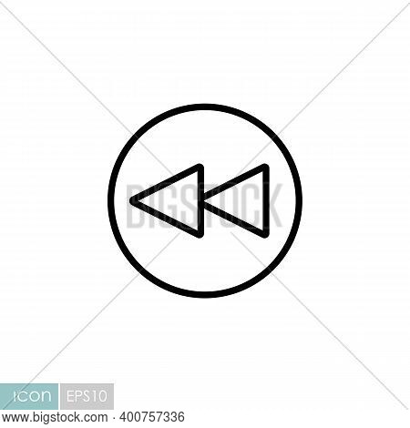 Play Previous Track Button Vector Flat Icon. Graph Symbol For Music And Sound Web Site And Apps Desi