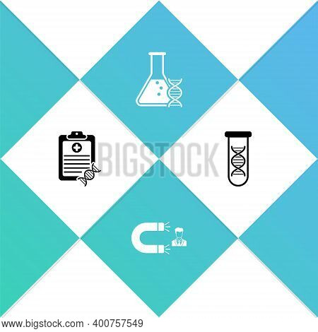 Set Clipboard With Dna Analysis, Customer Attracting, Research, Search And Icon. Vector