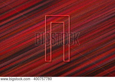 Pi Sign. Pi Letter, Greek Alphabet Symbol, Red Background