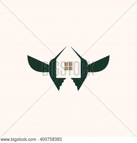 House And Humming Bird Logo Design Concept