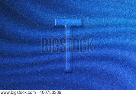 Tau Sign. Tau Letter, Greek Alphabet Symbol, Blue Glitter Background