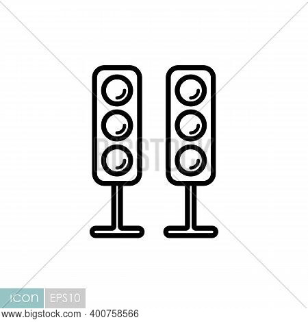 Sound System Speakers Vector Icon. Acoustic Speakers With Three Speakers For Sound