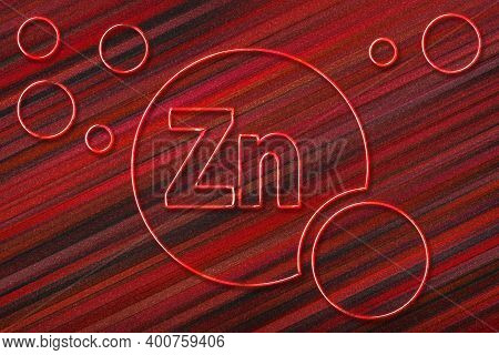 Element Zn Zinc, Mineral Vitamin Complex Dietary Supplement, Red Background