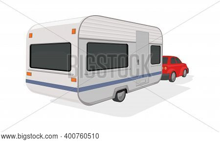 Automobile And Camper With Space For Living. Vector Traveling In Truck Around World, Road Transport,