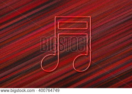 Beamed Sixteenth Note Symbol, Music Background, Red Background