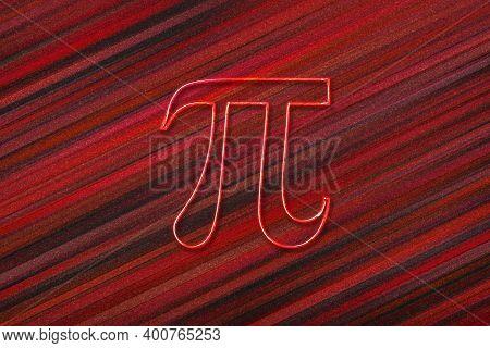 Pi Mathematical Constant, Greek Letter Pi 3.14, Pi Symbol, Red Background
