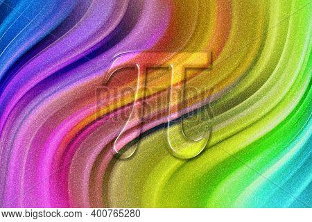 Pi Mathematical Constant, Greek Letter Pi 3.14, Pi Symbol, Rainbow Glitter Background