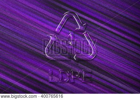 Ldpe, Plastic Recycling Symbol Ldpe 4, Violet Background