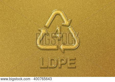 Ldpe, Plastic Recycling Symbol Ldpe 4, Gold Background