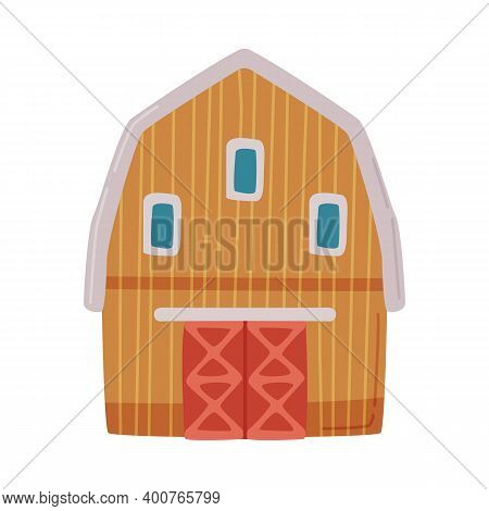 Farmhouse, Barn, Traditional Agricultural Rural Building Cartoon Style Vector Illustration