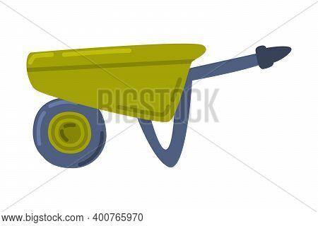 Green Wheelbarrow, Gardening And Agricultural Equipment Cartoon Style Vector Illustration