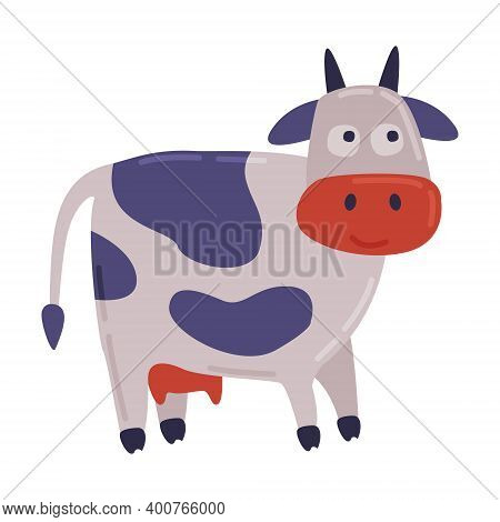 Cute Spotted Cow, Dairy Cattle Animal Husbandry Breeding Cartoon Style Vector Illustration
