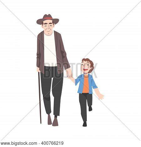 Grandfather And Grandson Spending Pastime Time Together, Grandparent Entertaining Grandchild Cartoon