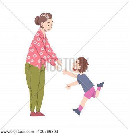 Grandma And Grandson Spending Pastime Time Together, Grandparent Entertaining Grandchild Cartoon Sty
