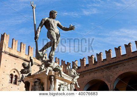 Statue of Neptune on Piazza del Nettuno in Bologna in sunny day Italy poster