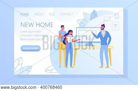 Real Estate Agency, Construction Company Flat Vector Web Banner, Landing Page Template. Realtor, Rea