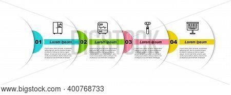 Set Line Medicine Cabinet, Monitor With Cardiogram, Neurology Reflex Hammer And Eye Test Chart. Busi