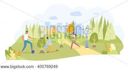 Cartoon Young Happy Volunteers Ecologist People Team Planting Trees In City Park Or Garden. Ecologic