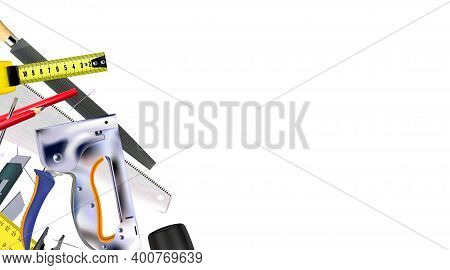 3d Composition Of Set Tools Of Craft Furniture Maker, Joiner, Isolated On White Background. Copy-spa