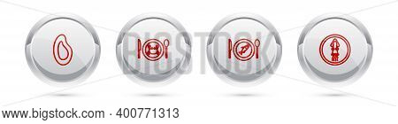 Set Line Mussel, Served Crab On A Plate, Fish And Octopus. Silver Circle Button. Vector