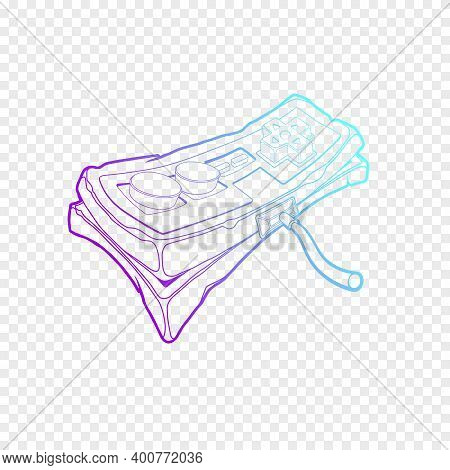 Classic Retro Gempad Icon. Old Stylized Play Console Joystick. Simple Outline Purple Joypad Icon.